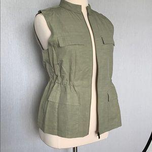Nordstrom Collection XL linen/lycocell zipper vest